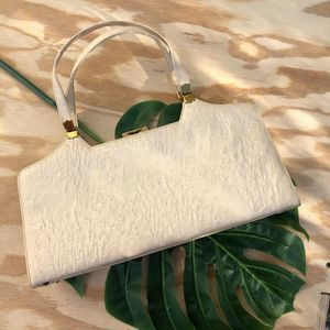 Vintage 1960's Ostrich Structured Hand bag Cream